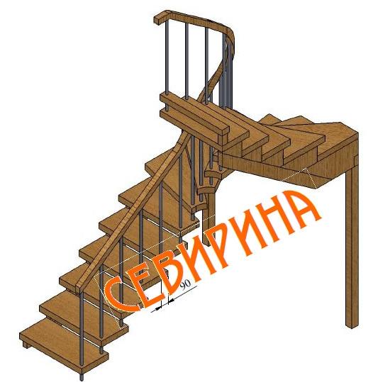 Лестница на 180 с поворотными ступенями своими руками